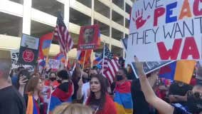 Armenian-American protesters gather outside SpaceX headquarters, demanding cancellation of Turkish satellite