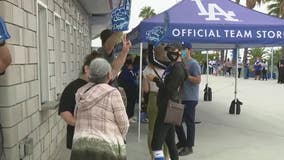 Dodger fans cheering on the Boys in Blue; looking to buy new apparel