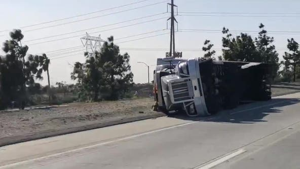 Santa Ana wind event caused 5 big rigs to overturn in separate incidents blocking lanes on freeways