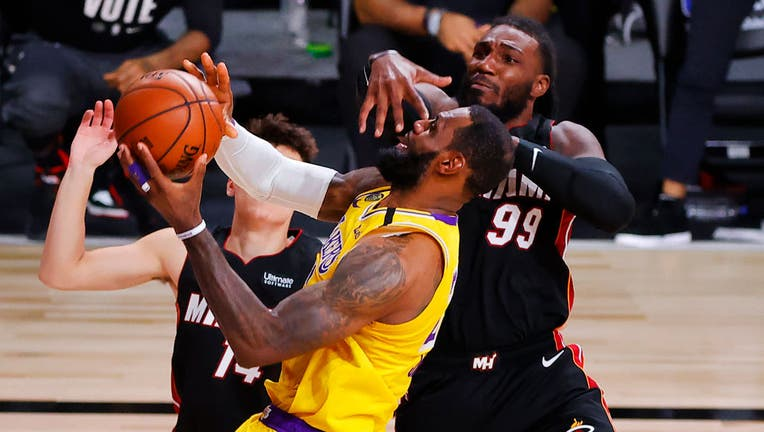 LeBron James puts up a shot during game four of the 2020 NBA finals against the Miami Heat