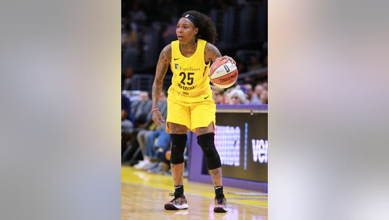 Cappie Pondexter #25 of the Los Angeles Sparks handles the ball against the Phoenix Mercury during a WNBA basketball game at Staples Center on May 27, 2018 in Los Angeles, California.