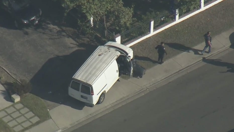 Police chase of stolen cargo van