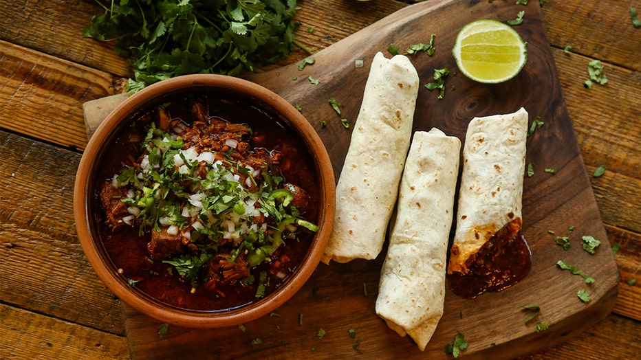 Tio Mario's Famous Chile Con Carne Colorado-Style Burritos cooked by Chef Aaron Chanchez