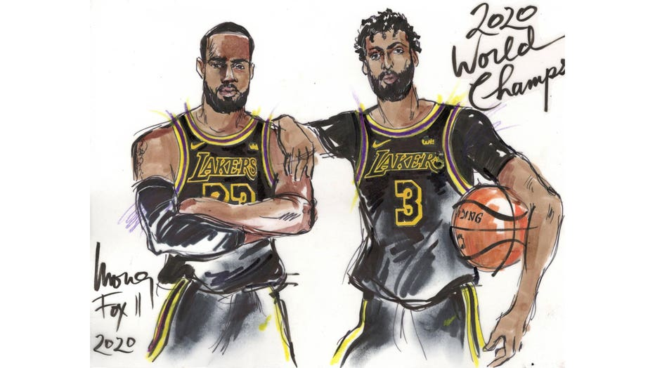 Lakers 2020 NBA Champions sketch by Mona S Edwards