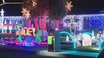 Beautiful holiday lights display in Glendora