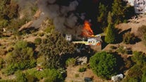 Firefighters battle house fire near Topanga State Park