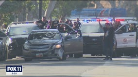 Pursuit suspect, allegedly armed with gun, in custody after brief standoff with LAPD