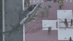 Helicopter carrying donated organ crashes on top of hospital helipad, LAFD says