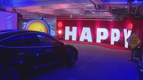 Westfield Century City parking garage now home to a colorful exhibit called 'Happy Place'