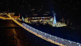 Beautiful! The SkyBridge in Gatlinburg lights up for the holiday season