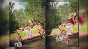 Toddler runs in terror after 'Grinch' surprises her during Christmas photo shoot