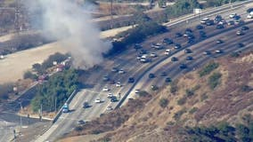 Crews quickly knockdown brush fire that sparked along 405 freeway near Getty Center
