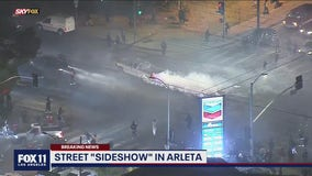 SkyFOX captures video of sideshow briefly taking place near an Arleta intersection