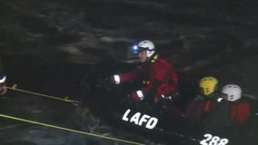 Man, woman stranded in LA River rescued as storm hits SoCal