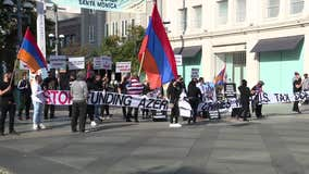 Armenian-American community holds protest to bring attention to war crimes happening in Artsakh