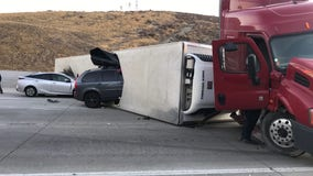 Crash involving big rig prompts closure of the southbound 5 Freeway near Castaic