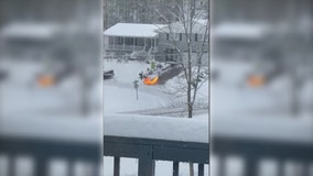Kentucky man goes viral for clearing snowy driveway with flamethrower