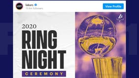 Los Angeles Lakers hold championship ring ceremony in season opener vs. Clippers
