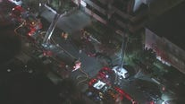 Crews battle fire at Encino apartment