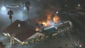 Crews battle large fire at a Sun Valley restaurant