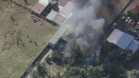 Structure fire burns near livestock on property in Sylmar