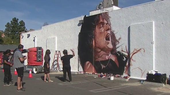 Artist taps into inner-Mamba Mentality to paint Eddie Van Halen mural in Hollywood