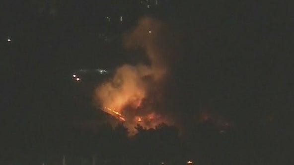 Polk Fire: Crews battling brush fire in Sylmar, no one hurt
