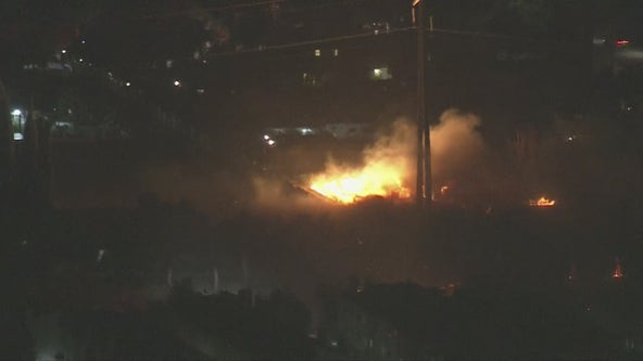 Polk Fire: Crews battling brush fire in Sylmar