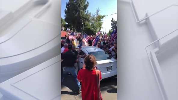 Woman charged with attempted murder for allegedly driving car into protesters in Yorba Linda