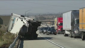 Strong winds topple trucks on Inland Empire freeways