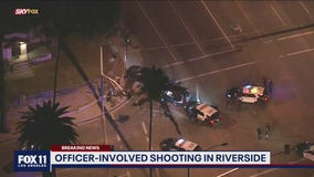 Reported police shooting following pursuit, crash in Riverside
