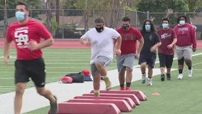 Student-athletes in Santa Ana Unified School District back for conditioning drills