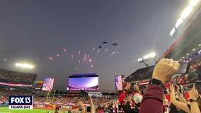 Super Bowl flyover thrills crowd around stadium in Tampa