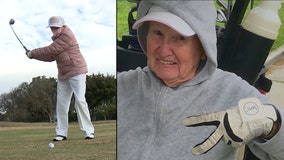 100-year-old golfer celebrates birthday on the green; says her secret is 2 shots of whisky every night