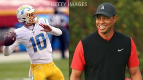 Tiger Woods was scheduled to do promo shoot with Chargers star Justin Herbert