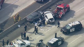 CHP officer, two others seriously injured in crash on the 10 Freeway near DTLA