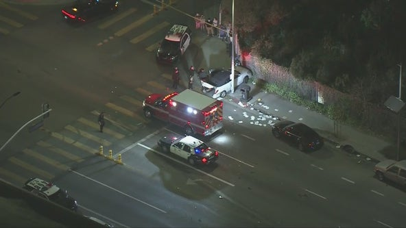 LAPD officer hit by car in South Los Angeles