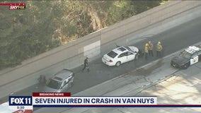 7 hurt in three-vehicle crash on 405 Freeway in Van Nuys