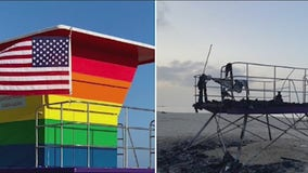 Unity rally held in Long Beach after Pride lifeguard tower destroyed in fire