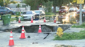Large sinkhole caused by water main break in South Los Angeles