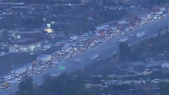 Traffic snarled on eastbound lanes of the 60 Freeway following deadly crash in Hacienda Heights