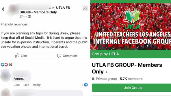 Private 'UTLA FB' group warns teachers to not post vacation pics amid union's push for safe return to class