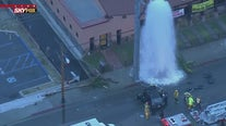 Two people trapped inside vehicle following hydrant crash
