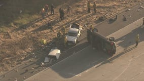 Overturned car on Ronald Reagan Freeway in Mission Hills causing backups