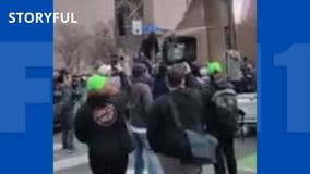 Protesters surround semi-truck after it drives near Minneapolis crowd after Chauvin verdict