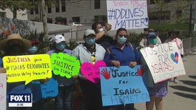 Protest in downtown Los Angeles over shooting of disabled man