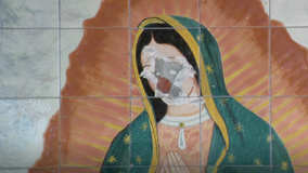 Virgin of Guadalupe mural defaced at Van Nuys church, suspect sought
