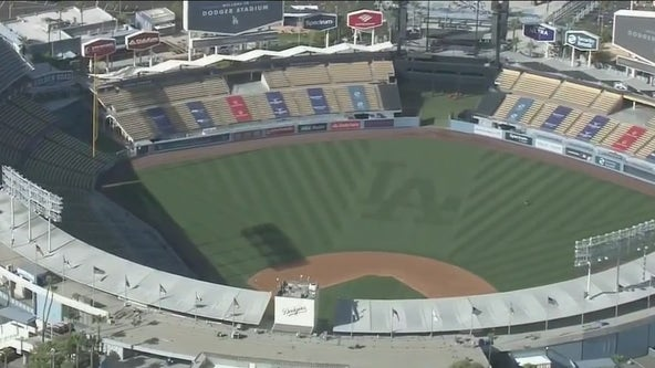 Vaccination zone seating at Dodger Stadium