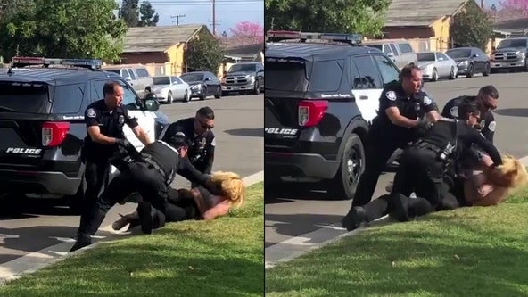 VIDEO: Police officers stop fellow officer punching handcuffed woman during arrest