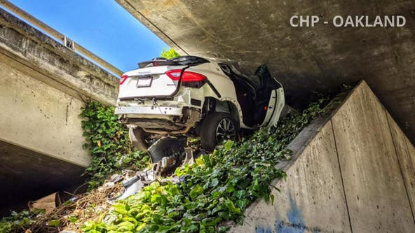 Man leads CHP on chase, wedges his girlfriend's Maserati under freeway